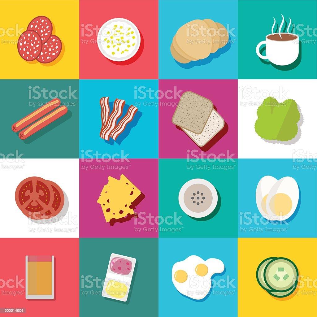 Breakfast fresh food and drinks flat icons set vector art illustration