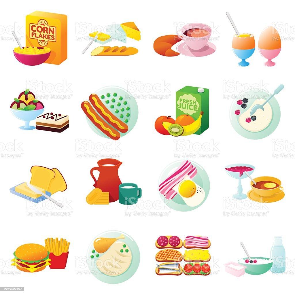 Breakfast gradient icon 4x4 vector art illustration