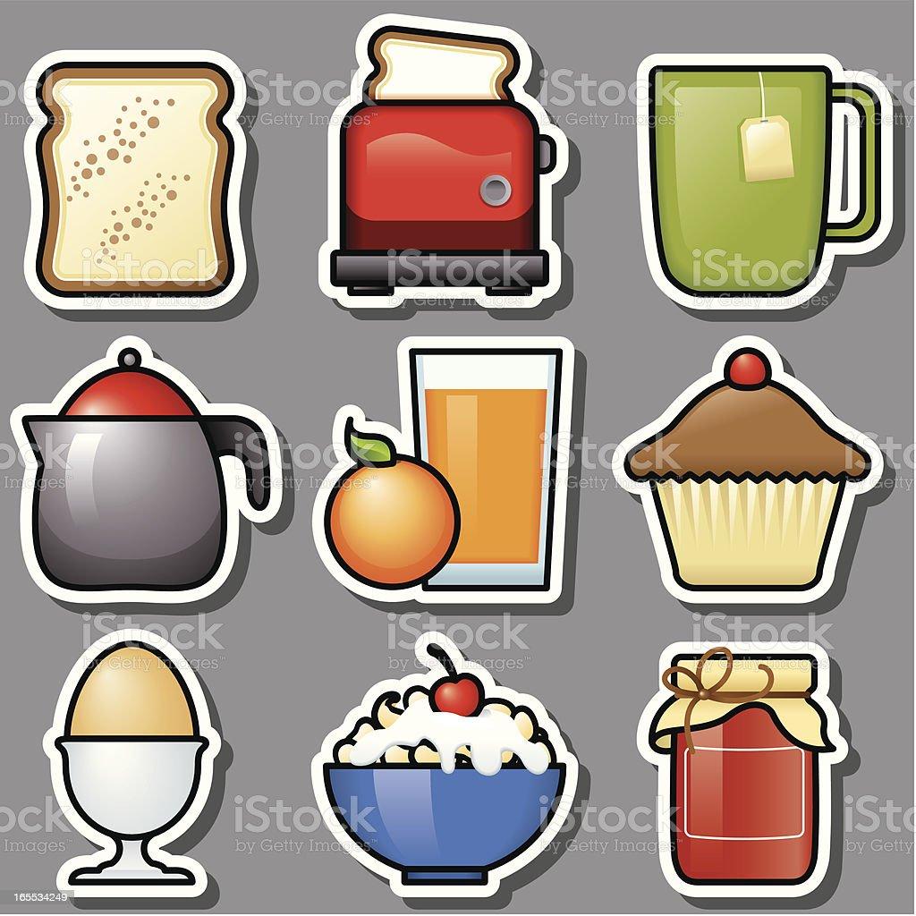 Breakfast GREY ICONS vector art illustration