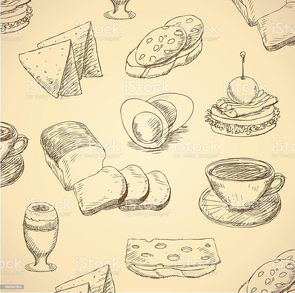 breakfast hand drawn food set vector royalty-free stock vector art
