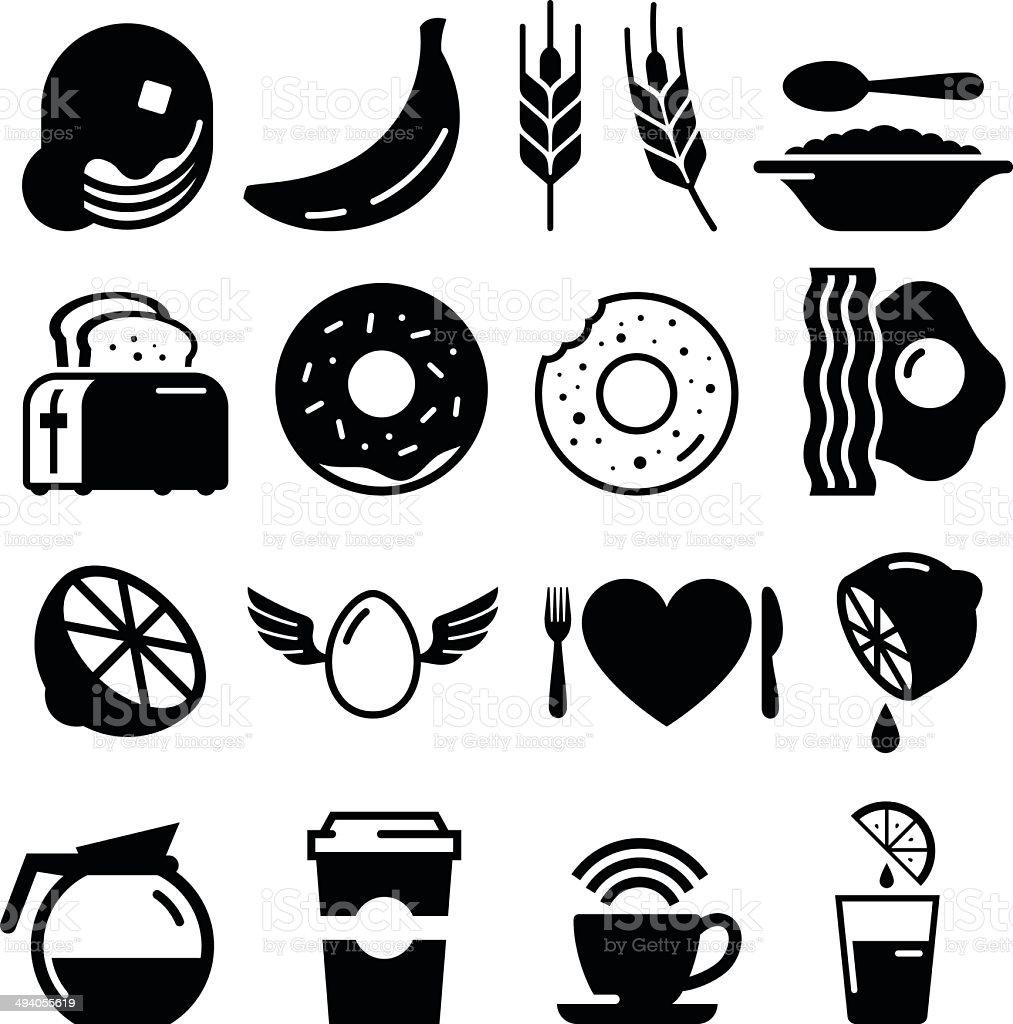Breakfast Icons - Black Series vector art illustration