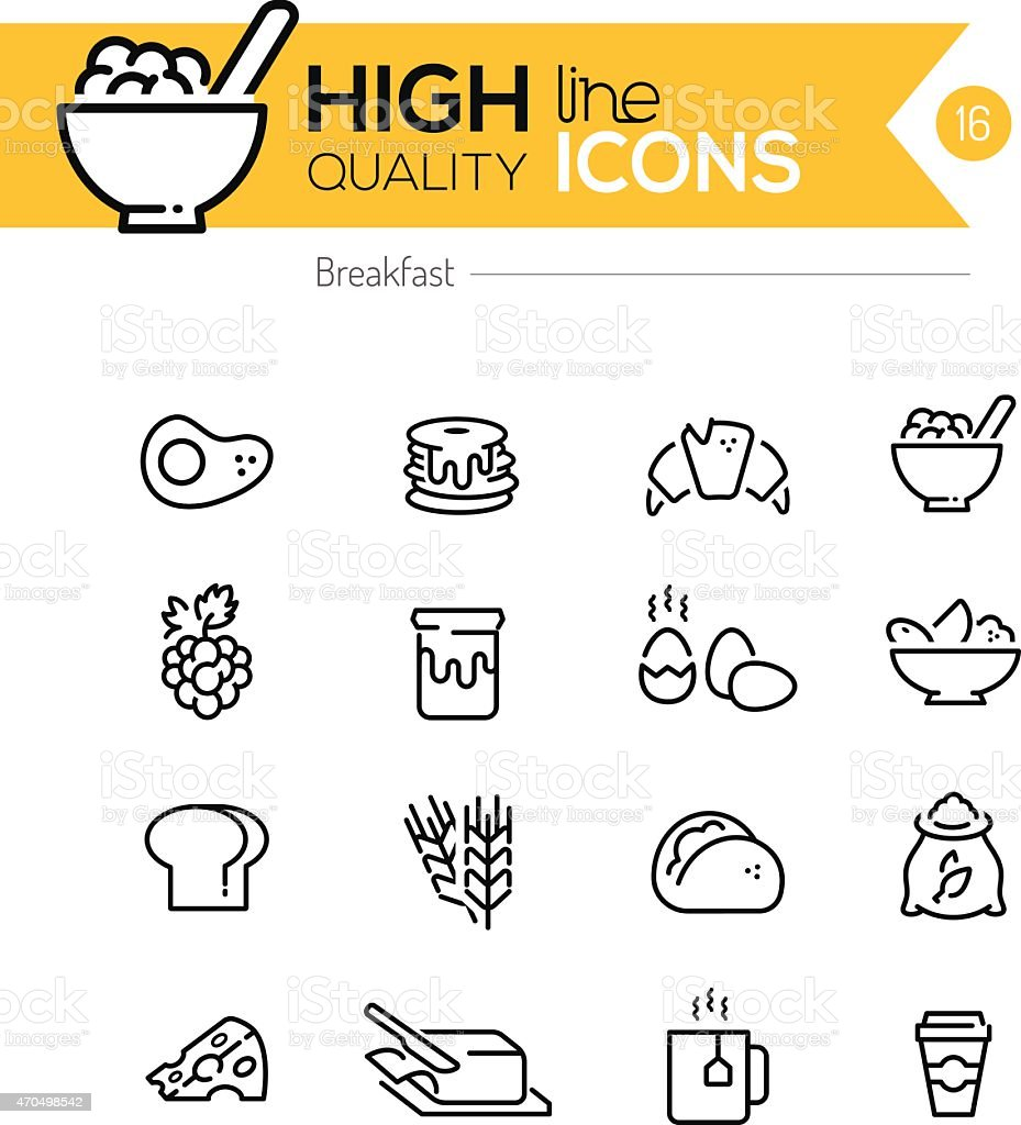 Breakfast Icons line series vector art illustration