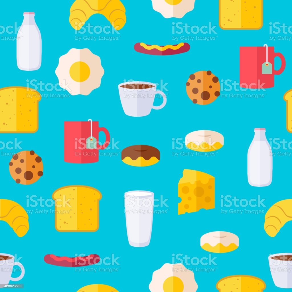 Breakfast icons seamless colorful pattern vector art illustration