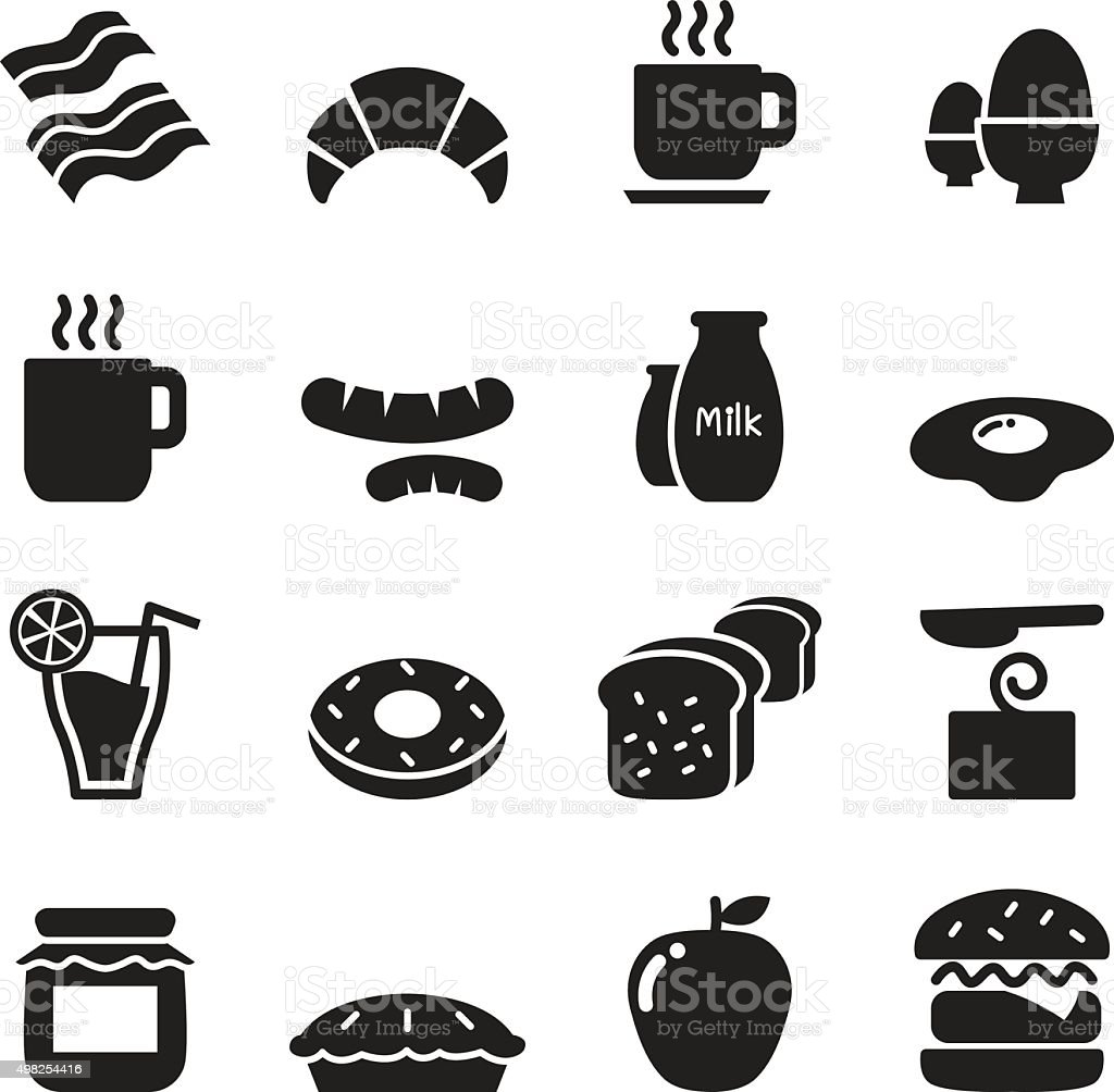 Breakfast icons set vector art illustration