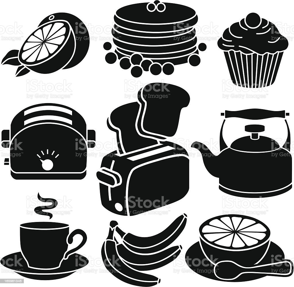 breakfast icons vector art illustration