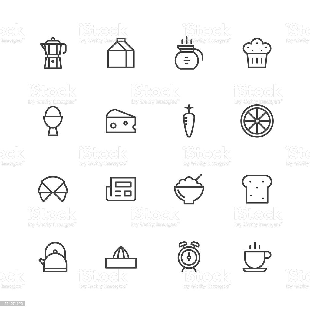 Breakfast icons vector art illustration