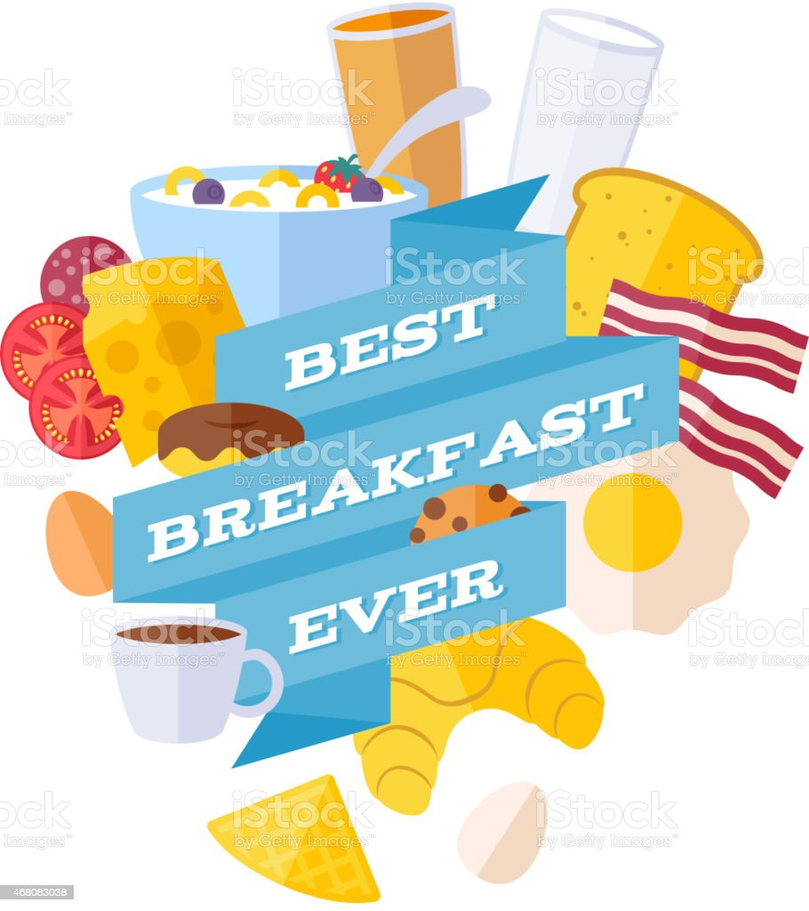 Breakfast icons with ribbon illustration vector art illustration