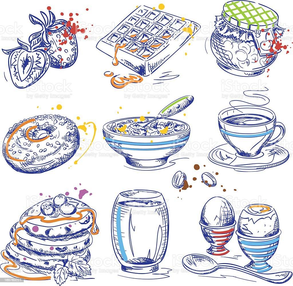 Breakfast Ink Drawings vector art illustration