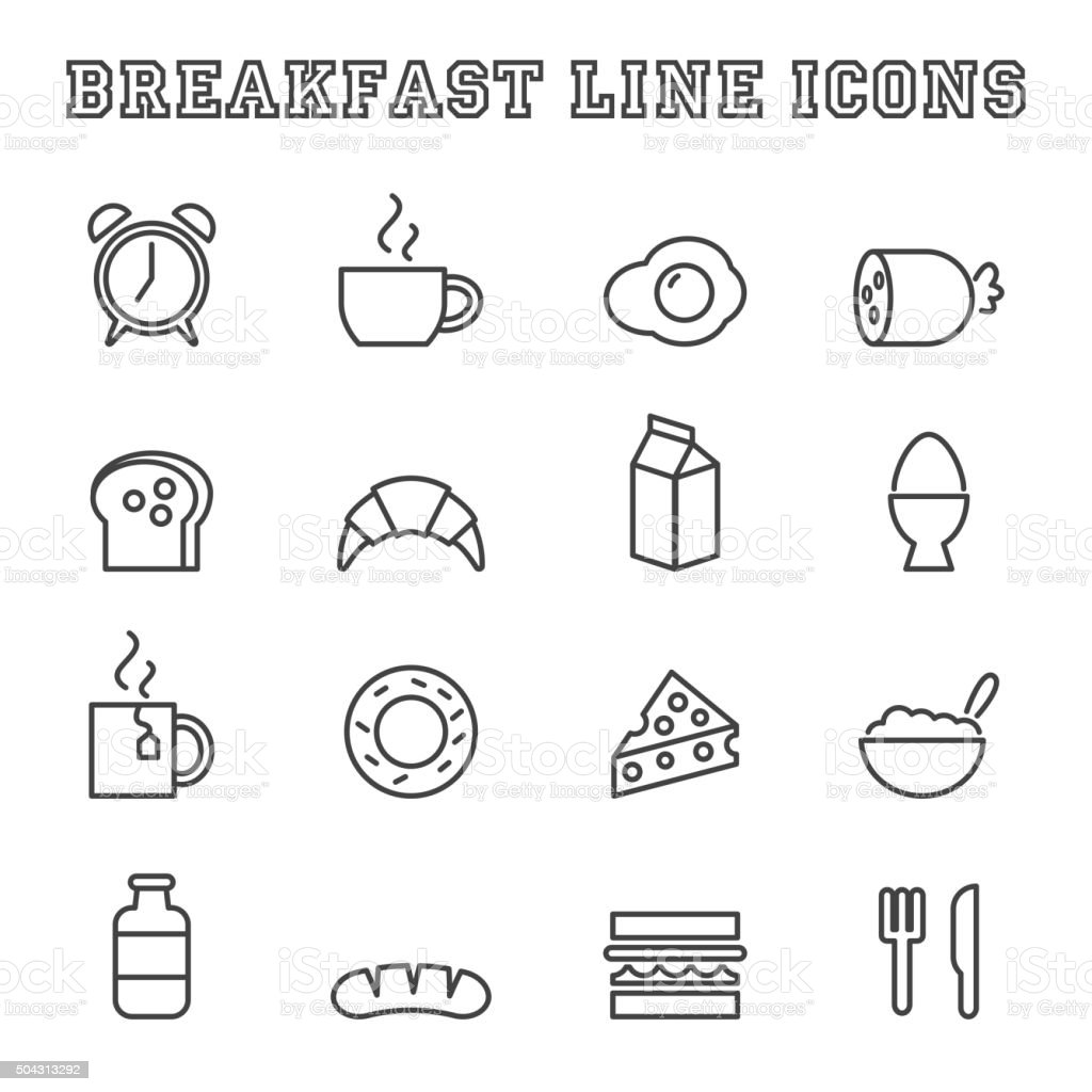 breakfast line icons vector art illustration