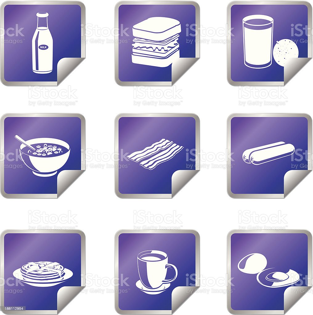 Breakfast Meals vector icons in Stickers royalty-free stock vector art