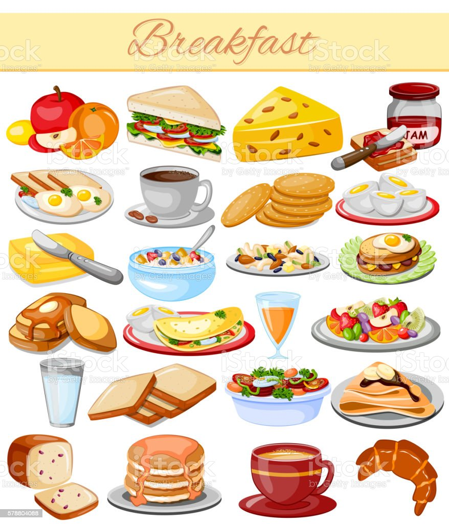 Breakfast Menu Food Collection vector art illustration