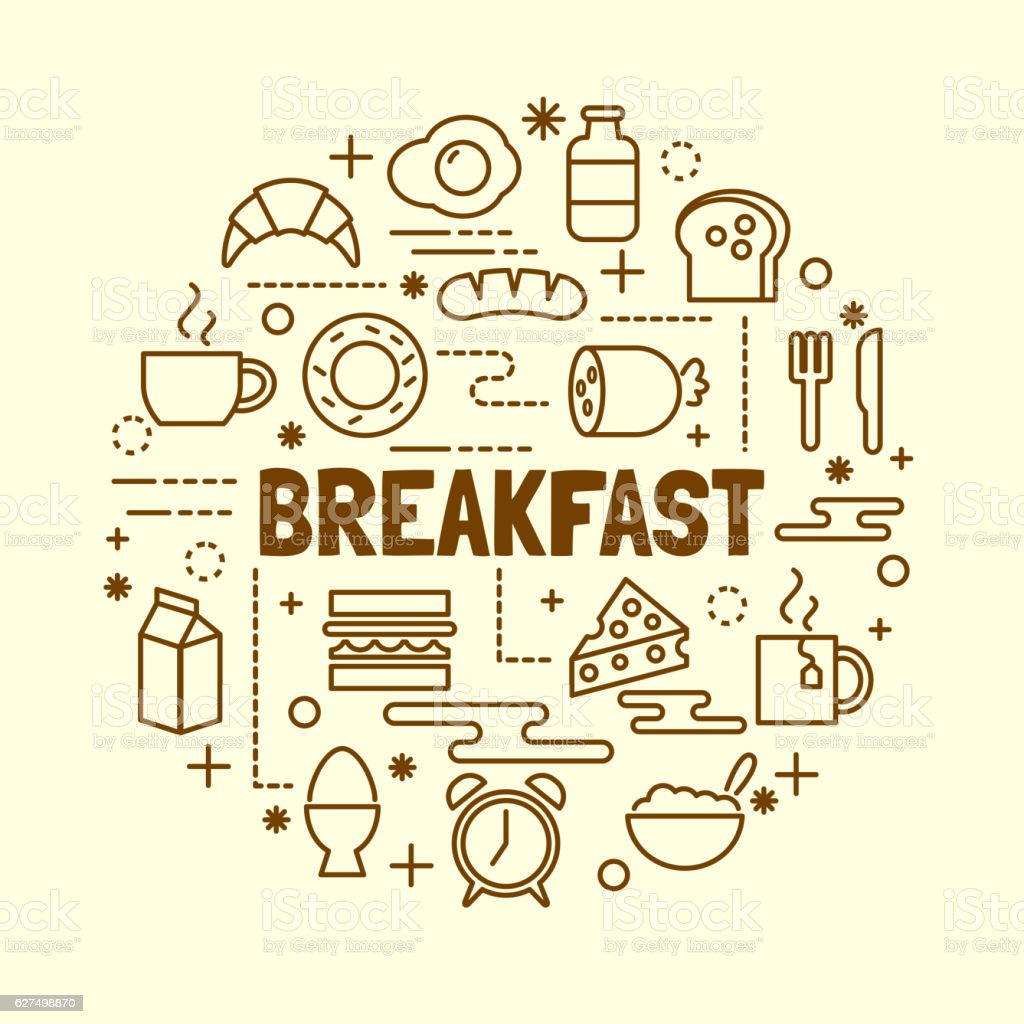 breakfast minimal thin line icons set vector art illustration