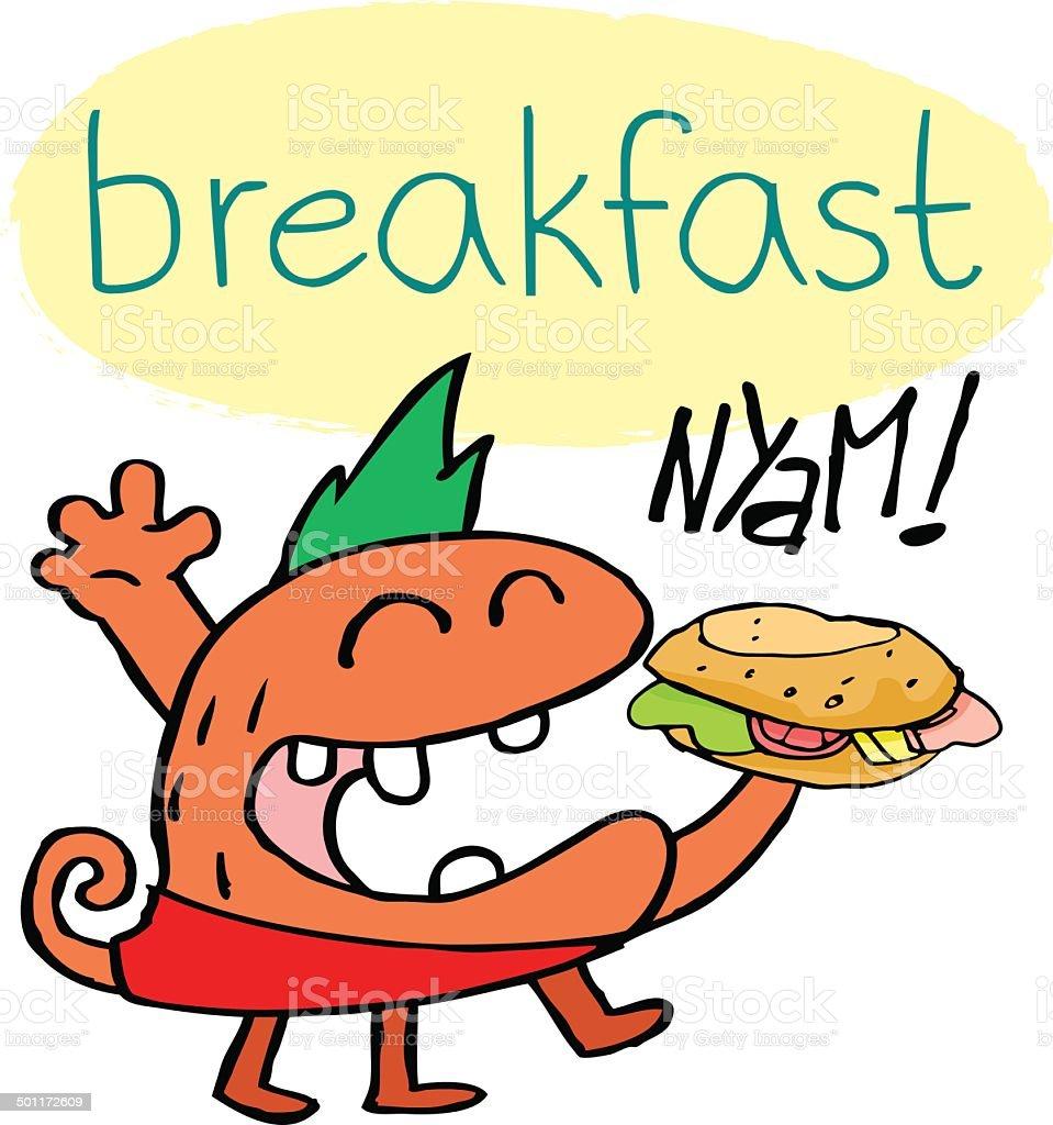 Breakfast monster with sandwich royalty-free stock vector art