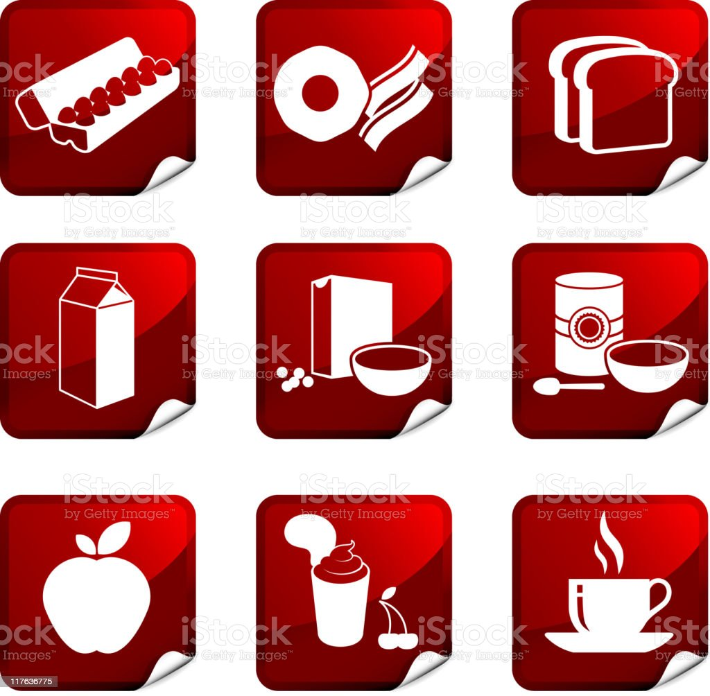 breakfast nine royalty free vector icon set vector art illustration