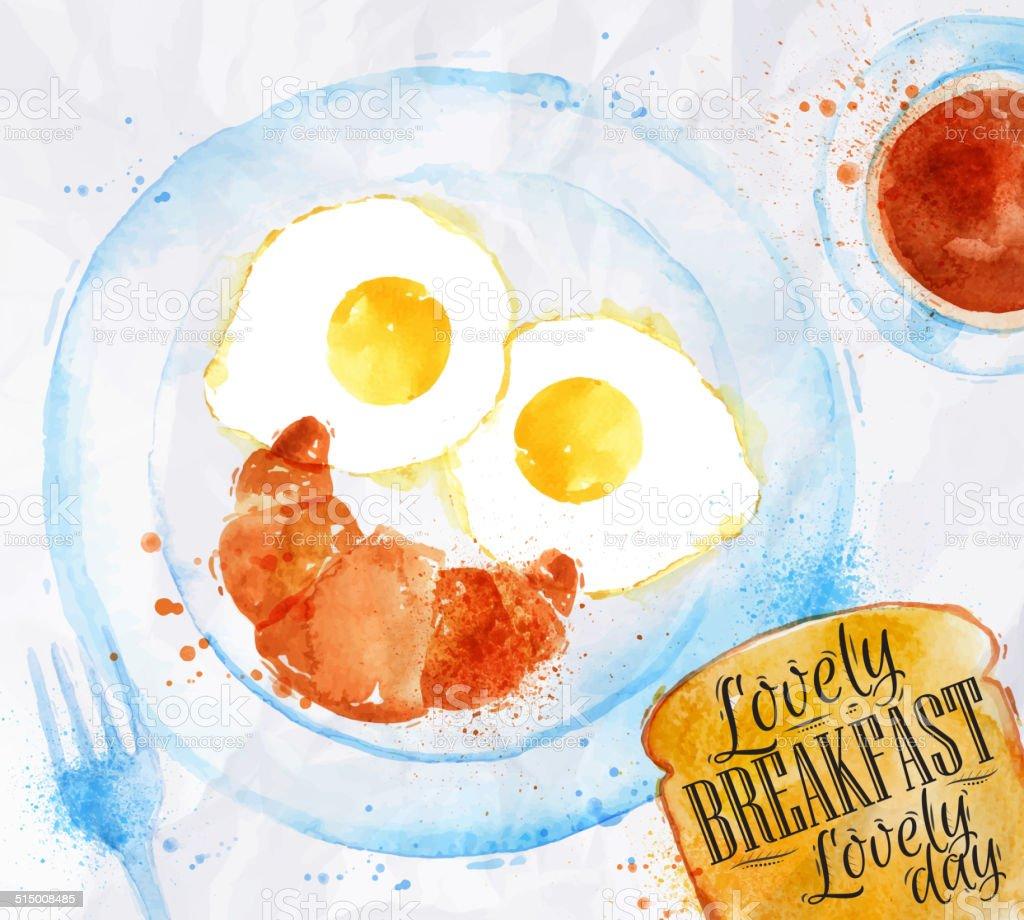 Breakfast smile eggs vector art illustration