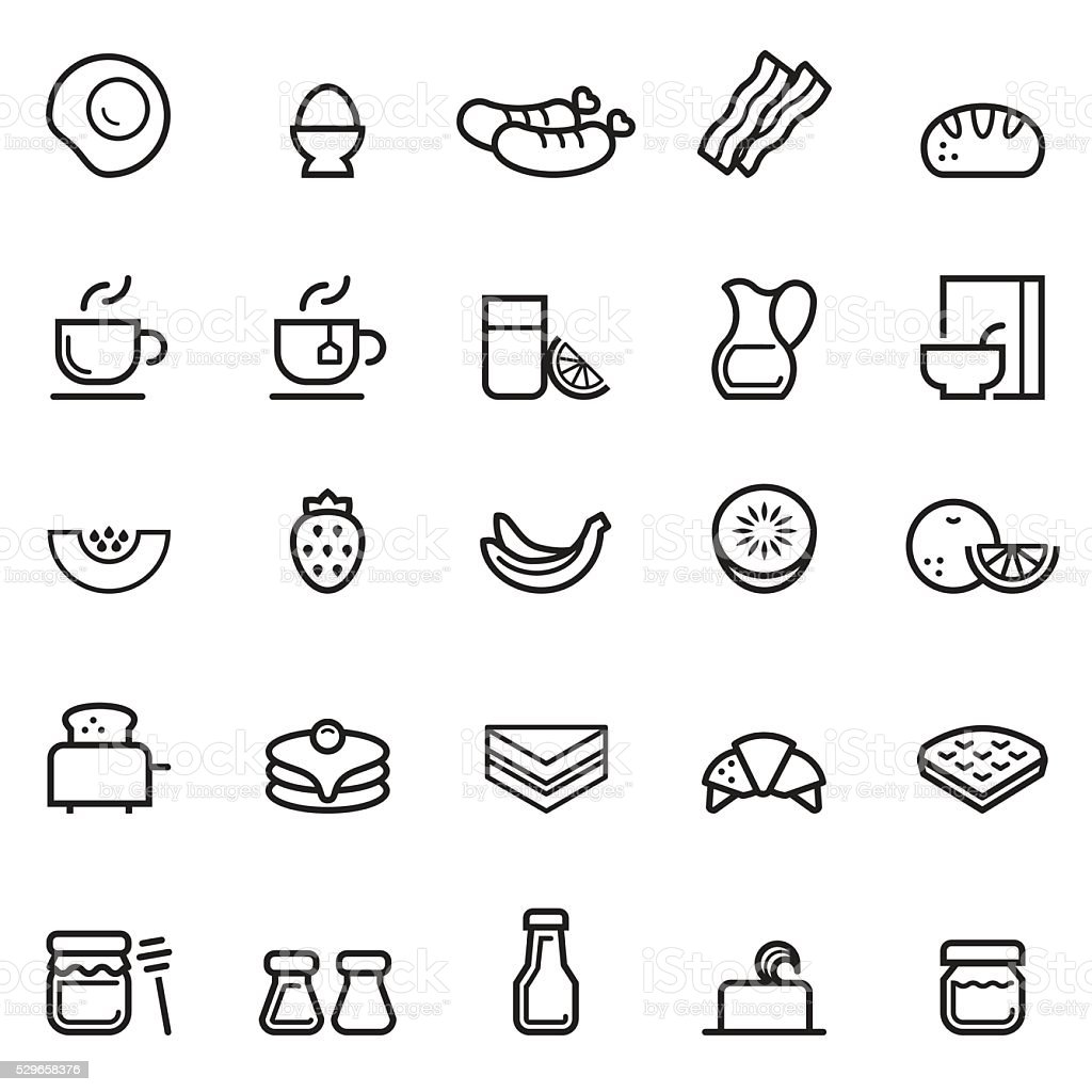 Breakfast Thin Line Icons vector art illustration