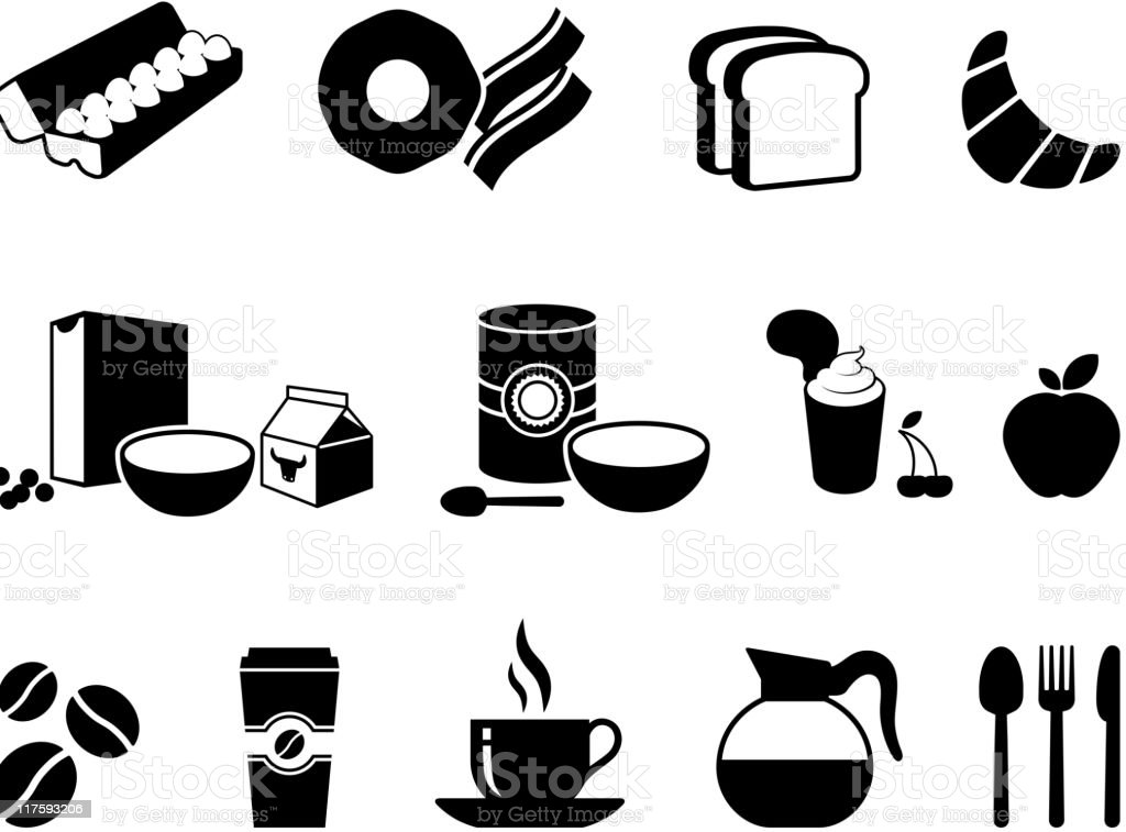 Breakfast time black & white royalty free vector icon set vector art illustration