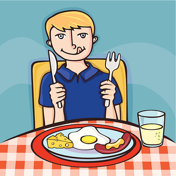 Eating Child Breakfast Cartoon Clip Art, Vector Images ...