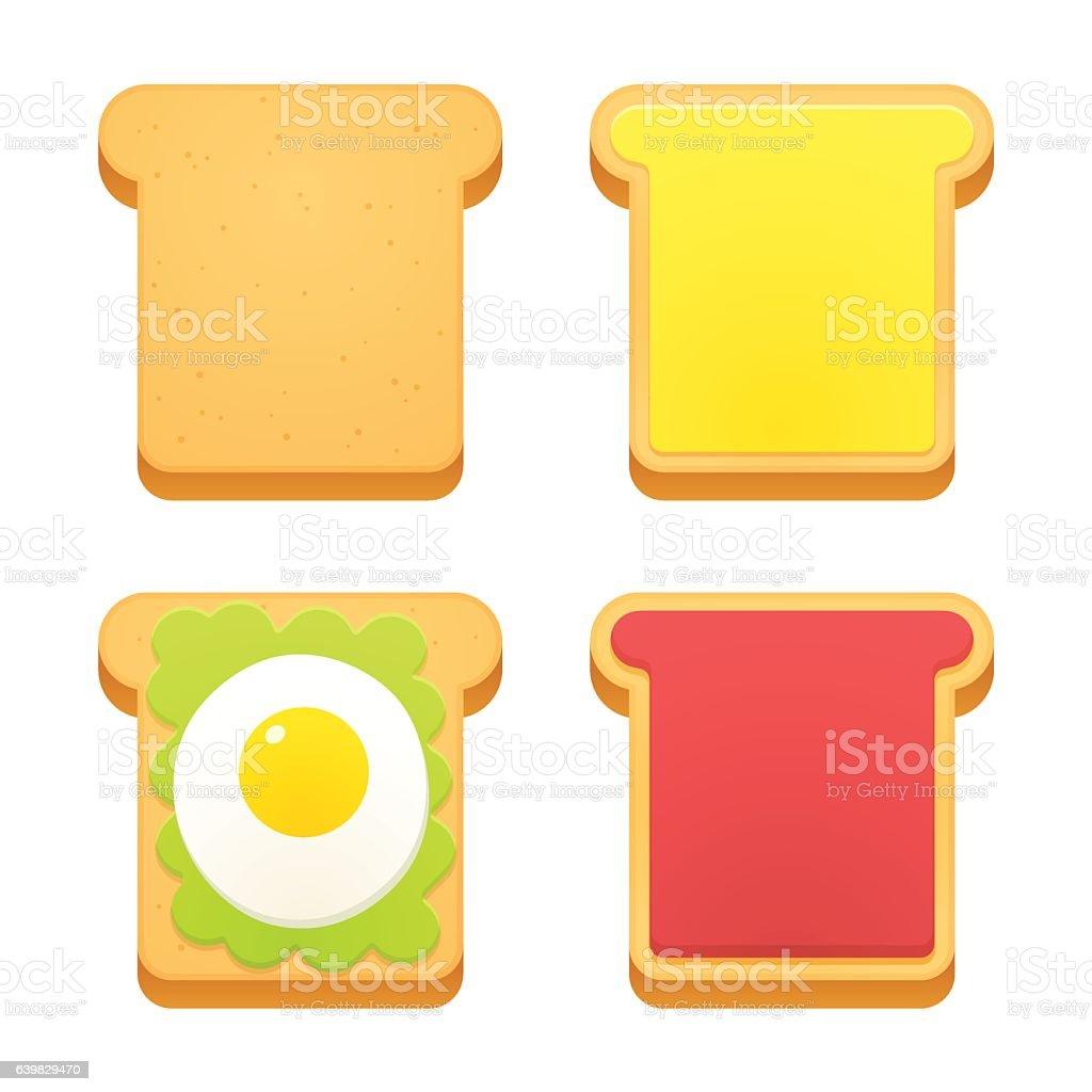 Breakfast toast set vector art illustration