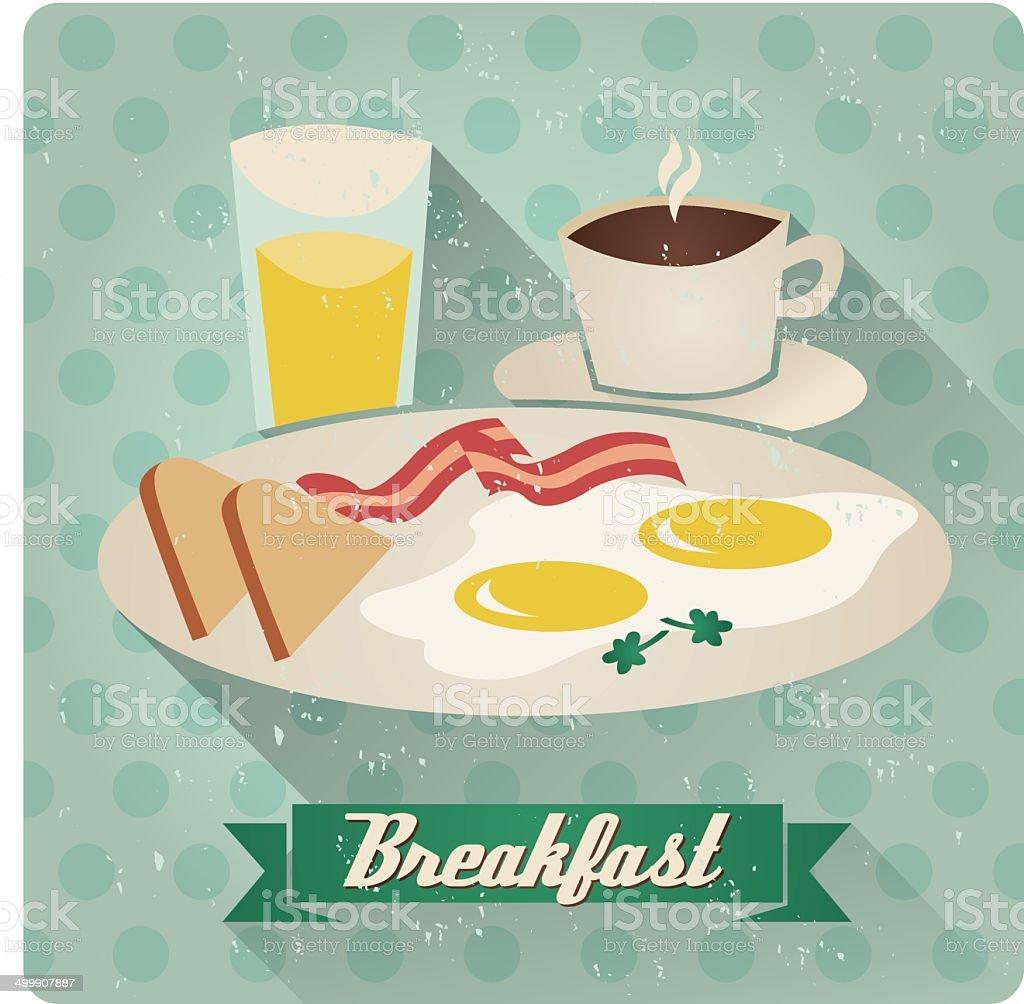breakfast vignette vector art illustration