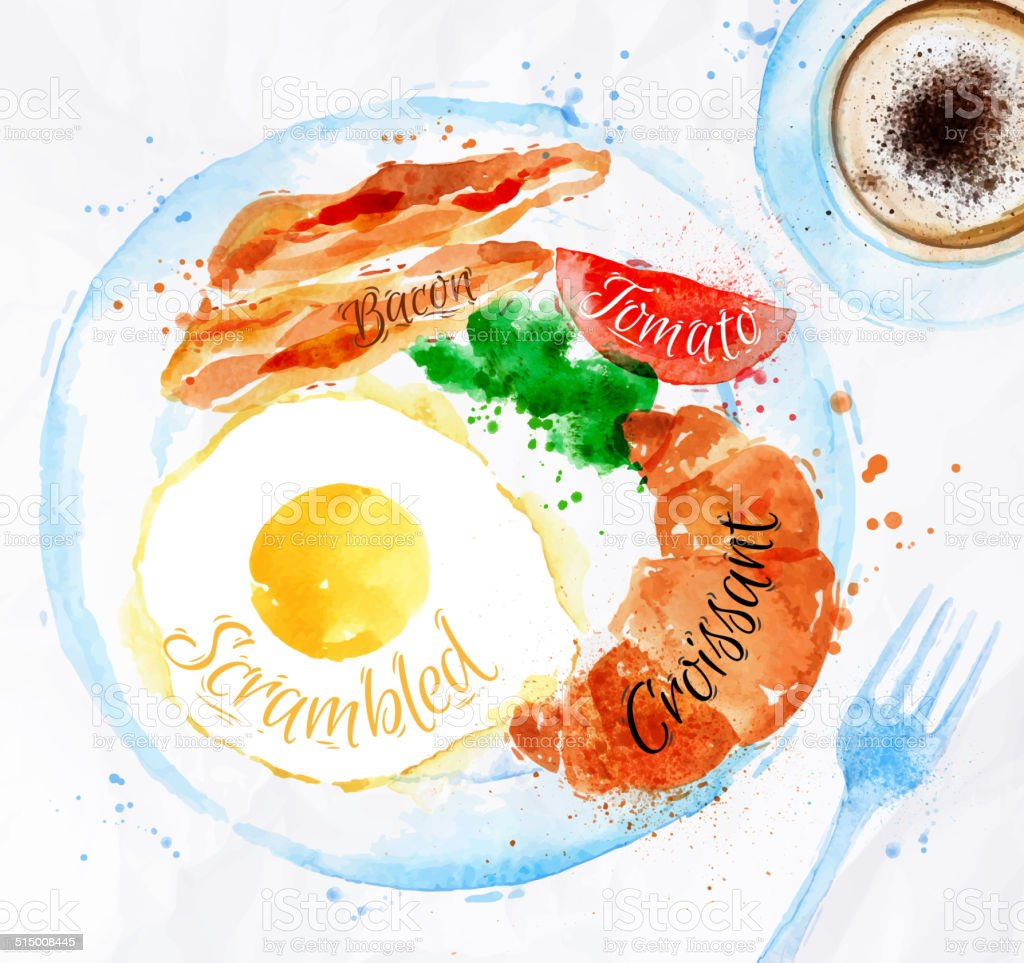 Breakfast watercolors bacon eggs vector art illustration