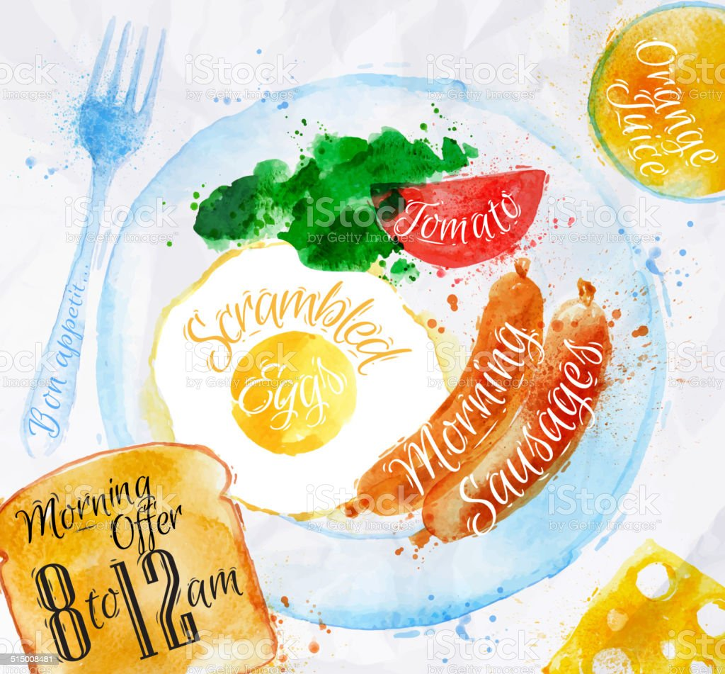 Breakfast watercolors sausage eggs vector art illustration