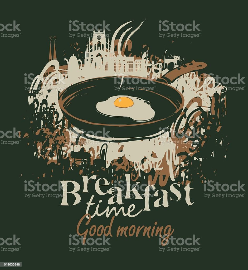 breakfast with a frying pan and fried eggs vector art illustration
