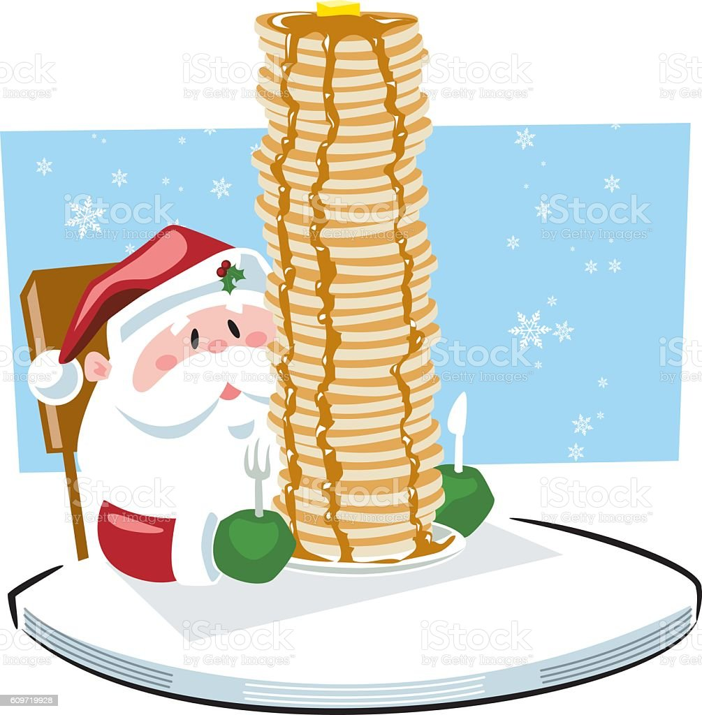 Breakfast with Santa Claus vector art illustration