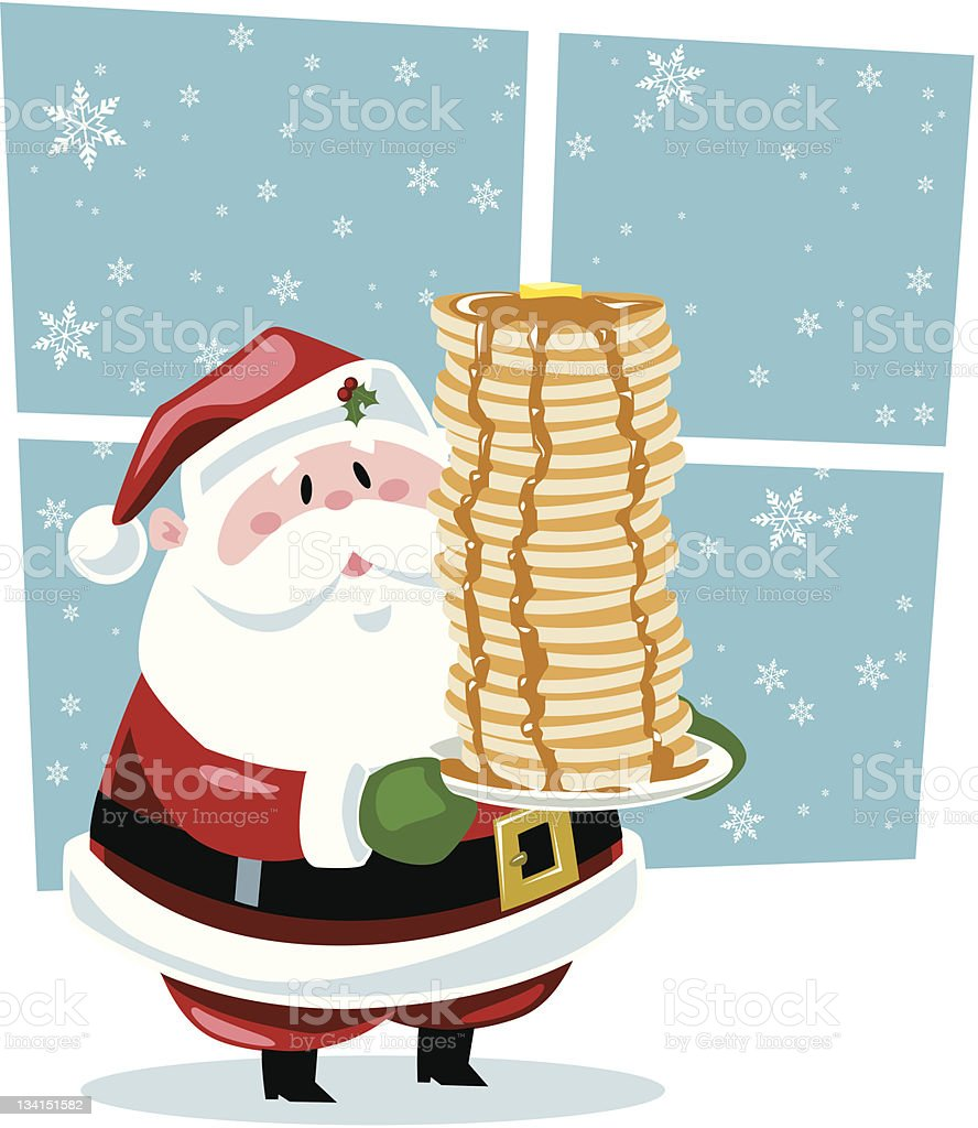 Breakfast with Santa vector art illustration