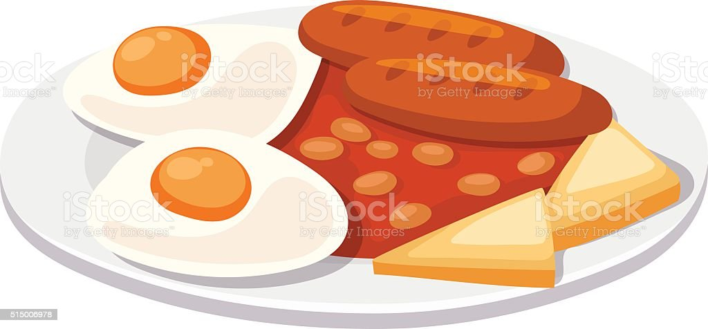 Breakfast with scrambled eggs and toasts, sausage isolated on white vector art illustration