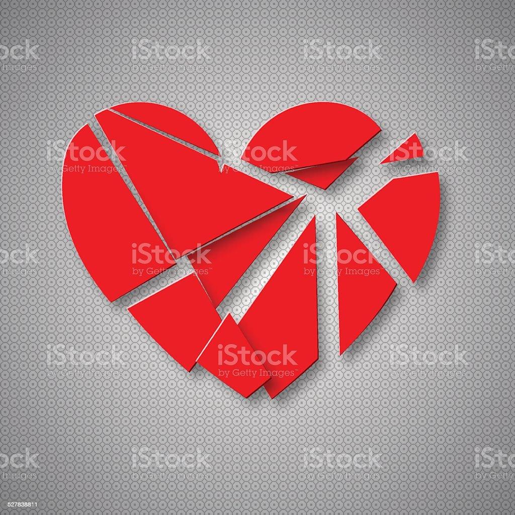 Breaking heart vector art illustration