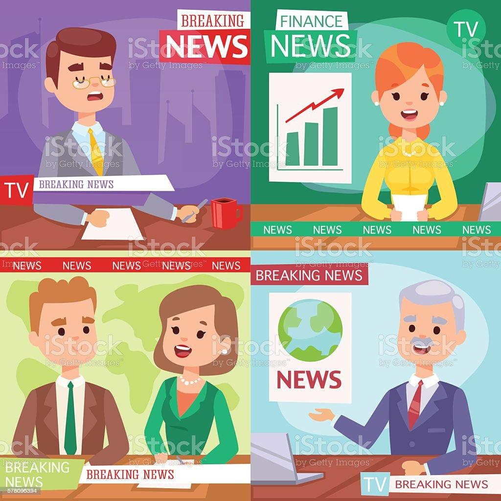 Breaking news anchor. vector art illustration