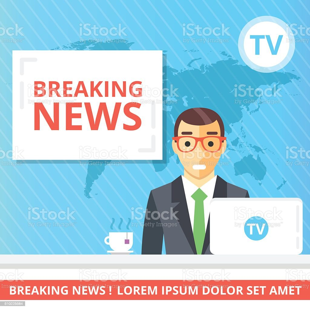 Breaking news flat illustration concept. Newscaster in the television studio vector art illustration