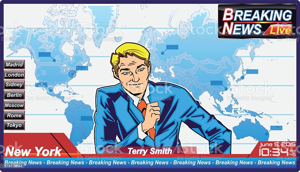 Breaking news journalist with serious man vector art illustration