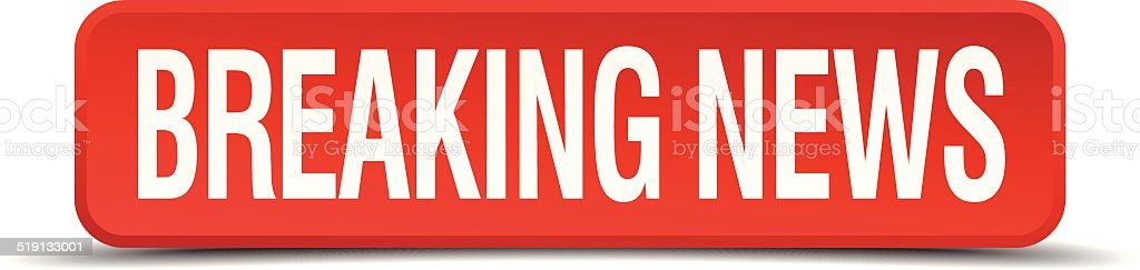 breaking news red three-dimensional square button isolated on white background vector art illustration