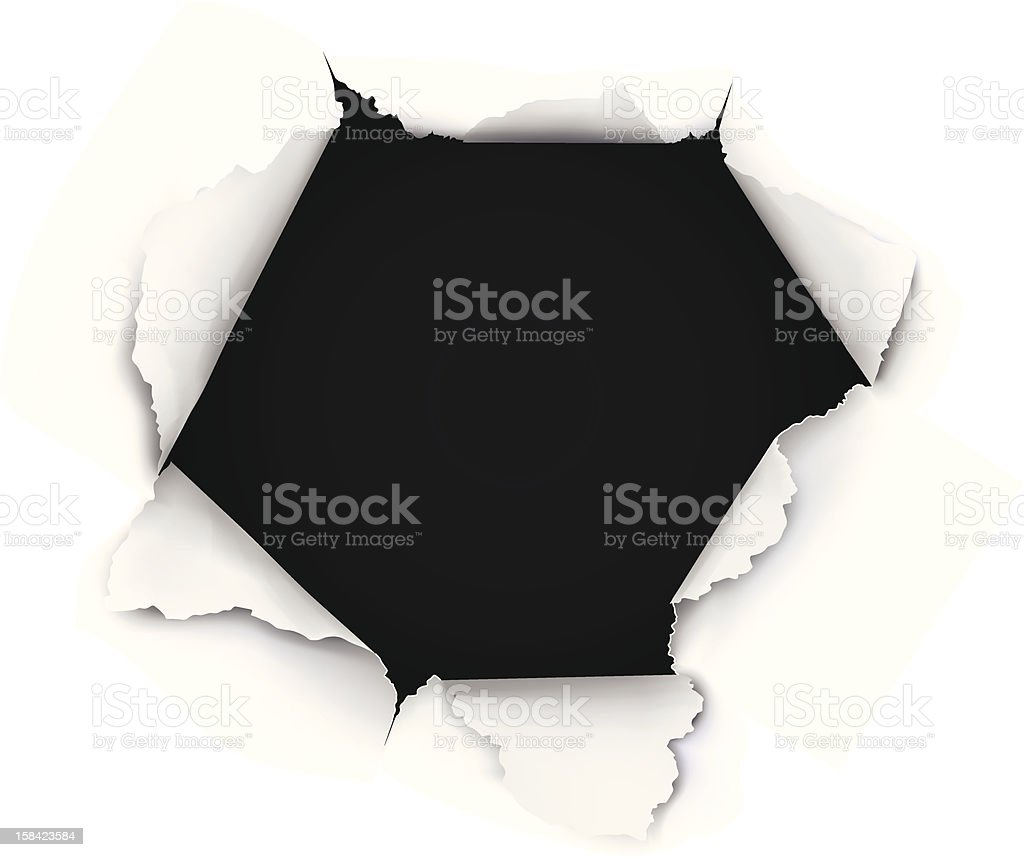Breakthrough Paper Hole vector art illustration