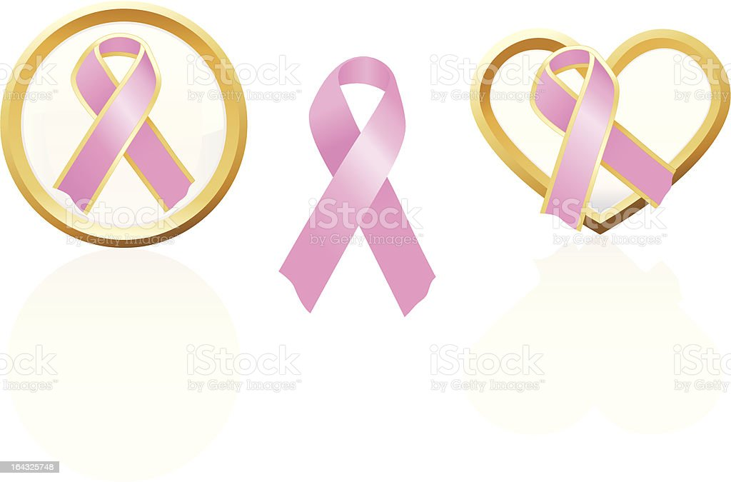 Breast Cancer Awareness and Pink Ribbon Support Icons royalty-free stock vector art