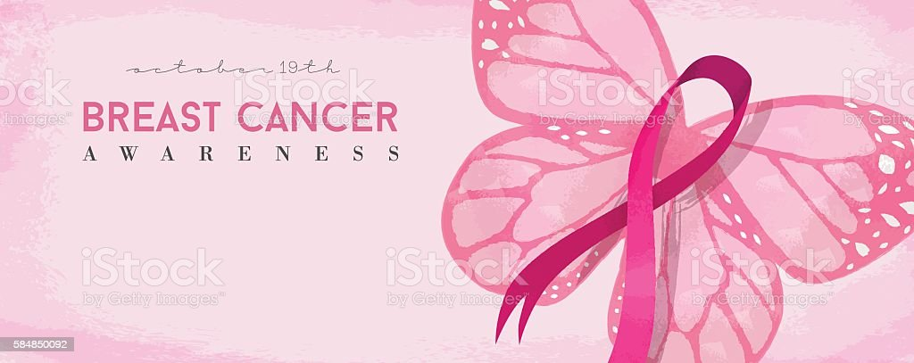Breast cancer awareness banner with pink butterfly vector art illustration