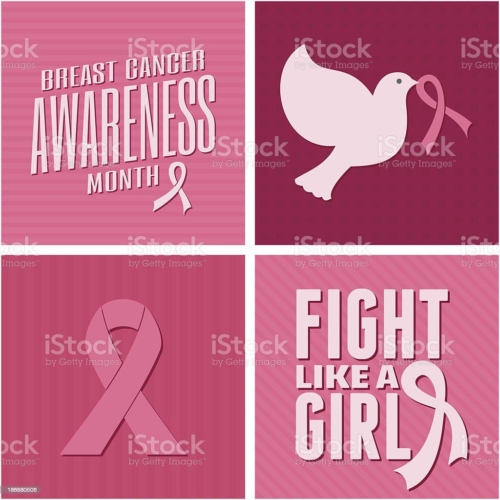 Breast Cancer Awareness Cards Collection vector art illustration