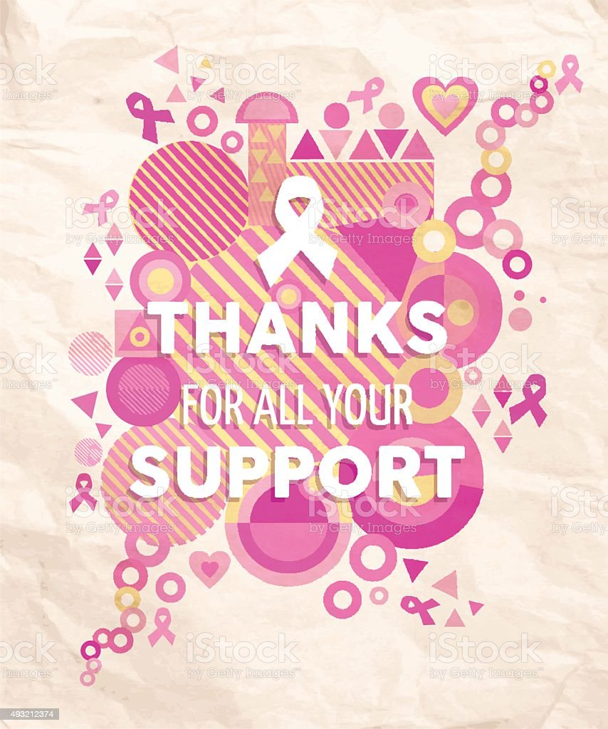 Breast cancer awareness geometry support poster vector art illustration