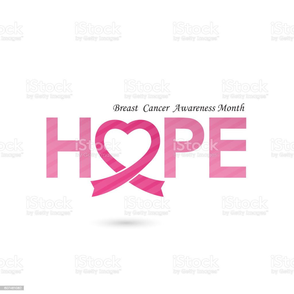 Breast cancer awareness icon design.Hope word icon elements vector art illustration
