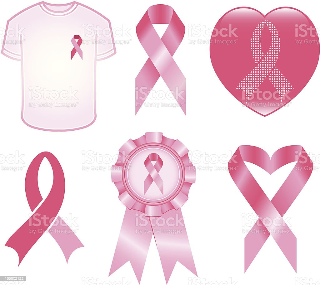 Breast Cancer Awareness Icons vector art illustration