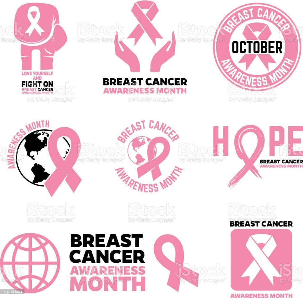 Breast Cancer Awareness month emblems, badges and design element vector art illustration