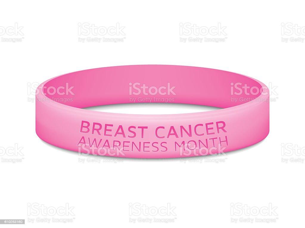 Breast cancer awareness month rubber wristband. Vector illustration. vector art illustration