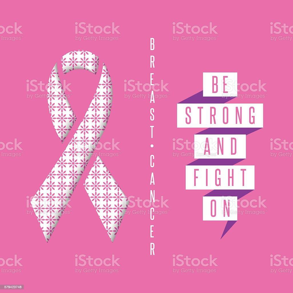Breast cancer awareness pink poster, medical charity organization vector art illustration