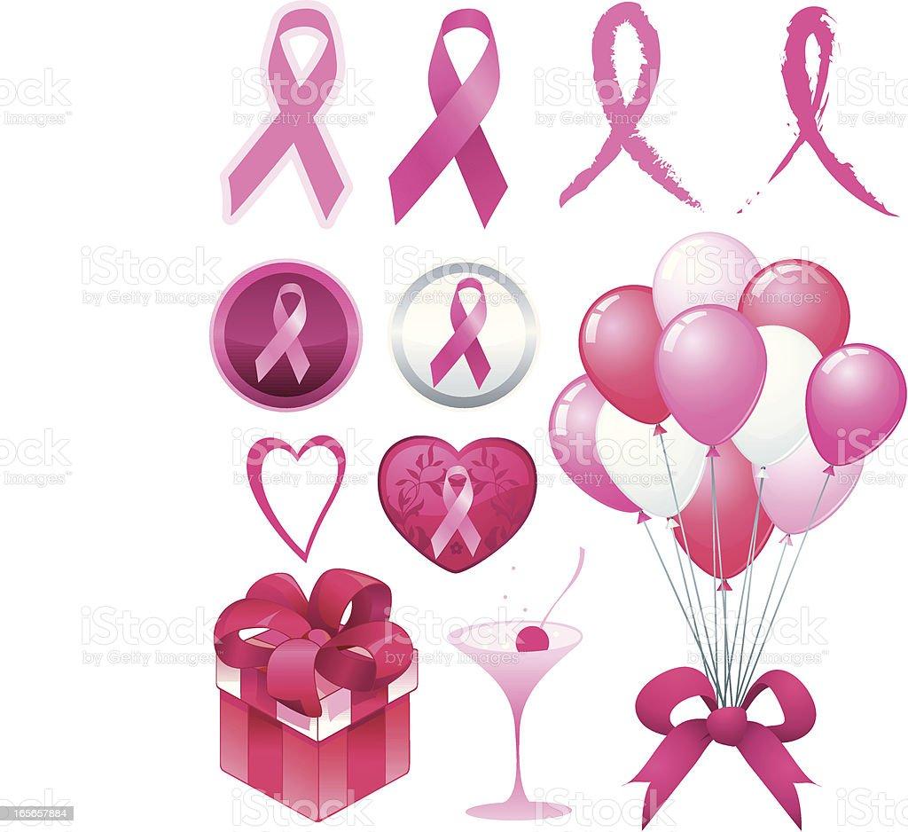 Breast cancer awareness ribbon set. royalty-free stock vector art