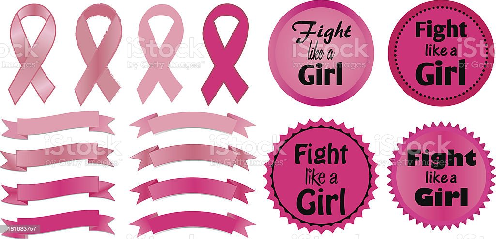 Breast Cancer Awareness ribbons and Fight Like a Girl logos royalty-free stock vector art