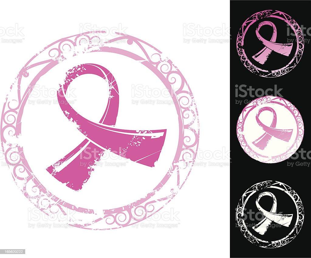 Breast cancer awareness stamp vector art illustration