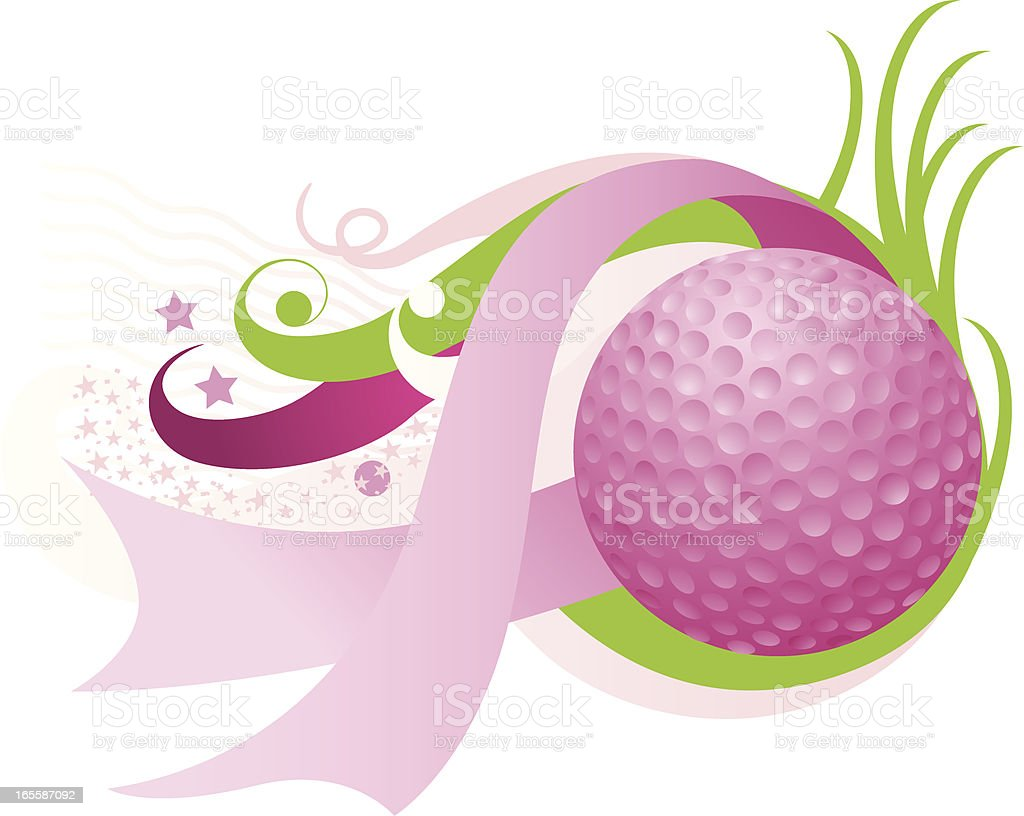 Breast cancer golf ball royalty-free stock vector art