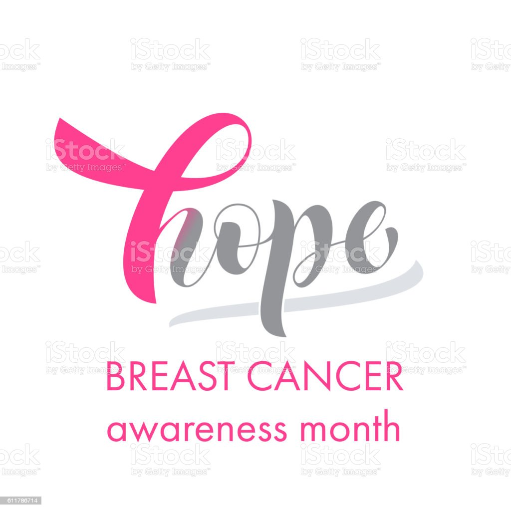 Breast Cancer pink awareness ribbon emblem vector art illustration
